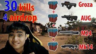 4 Airdrop Groza + AUG + M24 + Mk14 l EZ win 30 kills