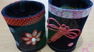 getlinkyoutube.com-Portalápices con latas y Jeans DIY