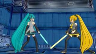 getlinkyoutube.com-【MMD】Lightsaber Battle: Miku Hatsune vs. Akita Neru【VOCALOID】