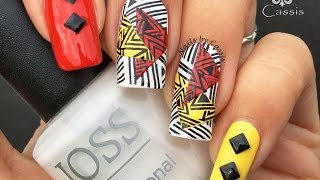 getlinkyoutube.com-Red x Yellow Abstract Stamping Nail Art
