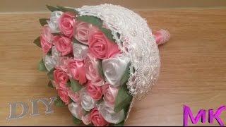 getlinkyoutube.com-Свадебный Букет Дублер из лент  Розы из лент МК✔ ℳAℛίℕℰ DIY✔