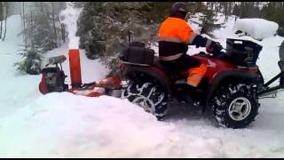 getlinkyoutube.com-Honda Rincon And Homemade Snow blover