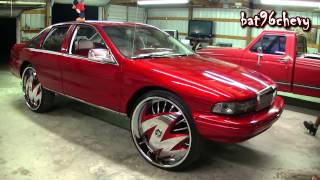 "getlinkyoutube.com-Candy Red 93 Chevy Caprice on 30"" DUB Skirts Ragged Floaters Pt.1 - 1080p HD"