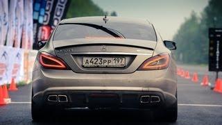 getlinkyoutube.com-Mercedes CLS 63 AMG VS Mercedes S 65 AMG; Porsche Switzer R911 (1 mile - 25.5 sec.)