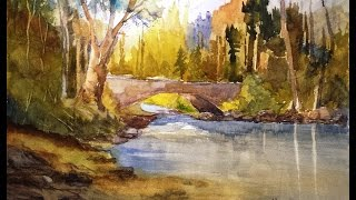 "getlinkyoutube.com-Paint Along with Larry Hamilton - July 30, 2014 - Watercolor ""Stream and Bridge"""