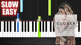 getlinkyoutube.com-The Chainsmokers - Closer ft. Halsey - SLOW EASY Piano Tutorial by PlutaX