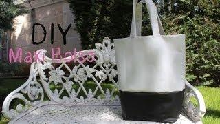 getlinkyoutube.com-DIY: Maxi bolso de cuero blanco y negro / DIY leather black and white bag