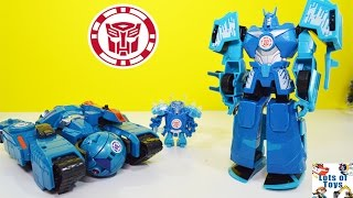 getlinkyoutube.com-Autobot Drift vs Overload Transformers Robots in Disguise Mini Con Deployers Blizzard Strike