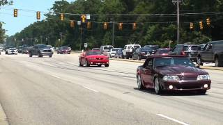 getlinkyoutube.com-2014 Mustang Week Pull outs, Burn outs, Cop chase, and Cobra Crash!