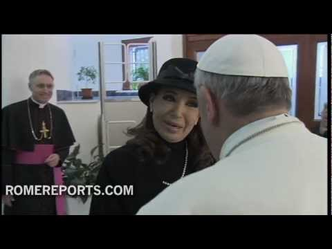 Argentina's President talks to press about her meeting with Pope Francis