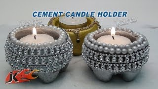 getlinkyoutube.com-Cement Candle Holder | DIY How to make | JK Arts 101