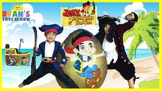 getlinkyoutube.com-GIANT EGG SURPRISE OPENING Disney Toys Jake and the Neverland Pirates Kinder Egg Kids Video