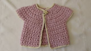 How to crochet a chunky star stitch baby cardigan / sweater / jumper