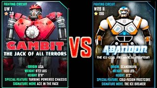 getlinkyoutube.com-Real Steel WRB Gambit VS Abandon NEW Robot updating (Живая Сталь)