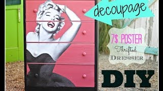 getlinkyoutube.com-how to Decoupage  Furniture with a 7$ poster, CeCe Caldwell Paint and a Thrift Store Dresser