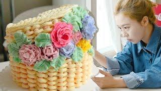 소녀감성 케이크~♥ 슝슝=3 꽃바구니 플라워바스켓 만들기 ♥   더스쿱