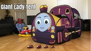 getlinkyoutube.com-Giant Thomas and Friends Toy Train Lady Tent Egg Surprise