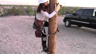 Girlfriend pole climb attempt