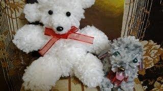 getlinkyoutube.com-How to make a Pom Pom and a teddy bear out of Pom Pom