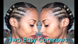 2 easy cornrows (with hair added)
