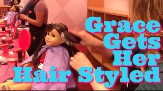 getlinkyoutube.com-American Girl Doll, Grace, Gets Her Hair Styled at American Girl Place