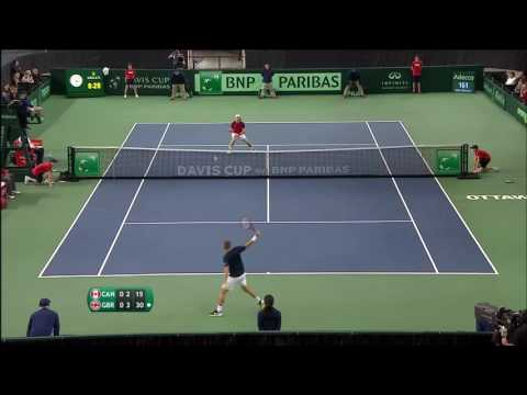 Davis Cup shot of the day - Dan Evans GB vs Canada day one