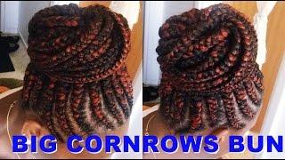getlinkyoutube.com-How to Make Big Cornrows Bun | Tutorial Ghana braids