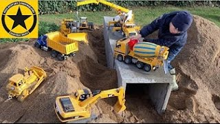 BRUDER Toys Tunnel Project Episode 8 CONCRETE MIXER Accident! LOADER Mercedes DUMP TRUCK Mack CRANE