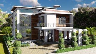 Sketchup Modeling + Lumion Render 2 stories Villa Design Size 13.8x19m 4bedroom