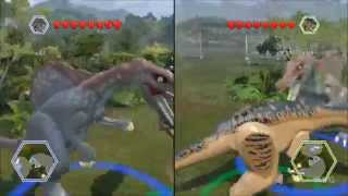 getlinkyoutube.com-LEGO Jurassic World - Baryonyx vs Spinosaurus - CoOp Fight | Free Roam Gameplay [HD]
