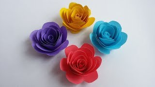 DIY: How to Make Beautiful Small Rose With Colour Paper!!!