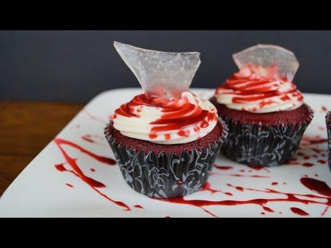 Cupcakes (Pastelitos)  Sangrientos Para Halloween - ¡Auch!