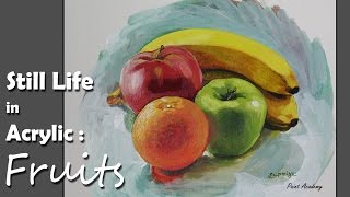 getlinkyoutube.com-Acrylic Painting : Fruits | step by step Still life painting
