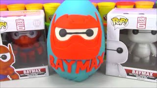 getlinkyoutube.com-Giant Armor Baymax Play Doh Surprise Egg Big Hero 6 Toys with Disney Vinylmations Legos Marvel Toys