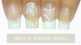 getlinkyoutube.com-Unhas Decoradas com Rendinha para Noivas – bridal nail art