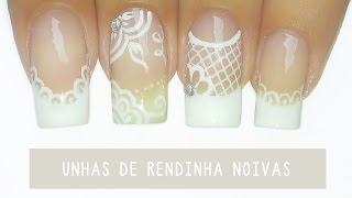 getlinkyoutube.com-Unhas Decoradas com Rendinha para Noivas – bridal nail art