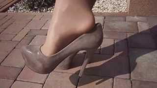 getlinkyoutube.com-Nylon layers legs - pantyhose gobi Wolford over white stockings