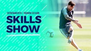 Destreza y golazos de Messi en el entrenamiento del Barça