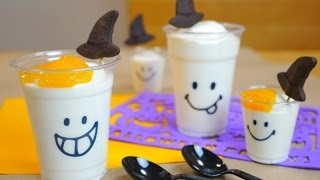 getlinkyoutube.com-Halloween Ghost Mousse Witches' Hat Cookies 魔女の帽子クッキー付き ハロウィン おばけ ムース