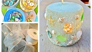 getlinkyoutube.com-DIY Seashell, seaglass and sand Candles