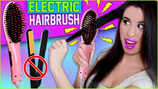 getlinkyoutube.com-Hairbrush Straightener! | How To Straighten Your Hair With An ELECTRIC Hairbrush! | Before & After!