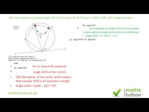 Alternate Segment Theorem, Opposite angles  Cyclic Quad, Circle Theorem, i/GCSE, 10th Grade Geometry