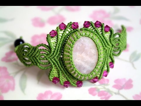How to Make a Macrame Bracelet with Stone - Macramé Tutorial [DIY]