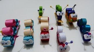 getlinkyoutube.com-lindas figuras miniatura gusanitos en cinta delgada gross o raso para clips del cabello