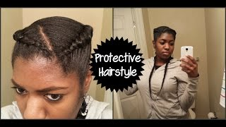 getlinkyoutube.com-Protective Hairstyle Pigtails with Extensions