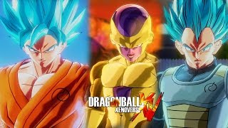 getlinkyoutube.com-Dragon Ball Xenoverse (PS4) : SSGSS Goku & SSGSS Vegeta Vs Golden Frieza & Beerus 【60FPS 1080P】