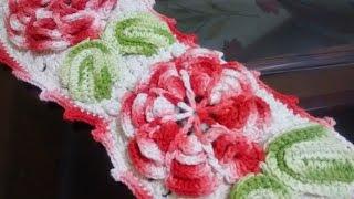 getlinkyoutube.com-Como executar o porta papel higiênico do jogo de banheiro em crochê com flores