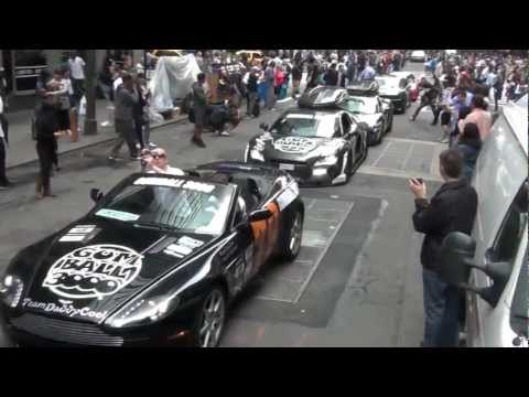 Start : Gumball 3000 2012 NYC - LOUD Revs, Fast Acceleration, Fly By!