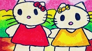 getlinkyoutube.com-How to Draw and Colour Hello Kitty for Kindergartens and Kids