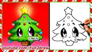getlinkyoutube.com-Easy Drawings - How to Draw Christmas Tree - Cute Christmas Stuff Things Top Drawing Videos Fun2draw
